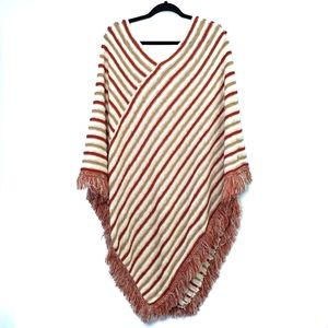 Autumn Colours Knit Poncho with Fringe One Size